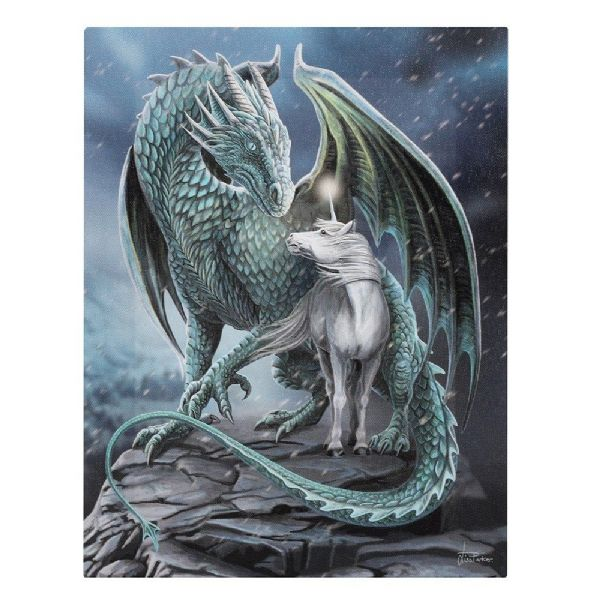 LISA PARKER Protector of Magick Dragon &  Unicorn Canvas Picture